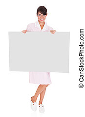 Young Maid With Bill Board
