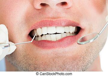 Dentist Examining Patient - Close-up Of A Dentist Examining...