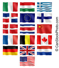 Flags of different countries - Waving flags of different...