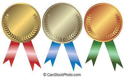Gold, silver and bronze medals on white background
