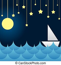 boat at sea waves, moon and star on sky vector illustration
