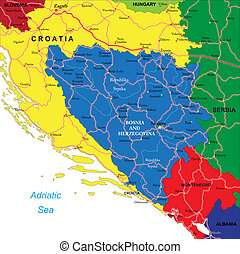 Bosnia & Herzegovina map - Highly detailed vector map of...