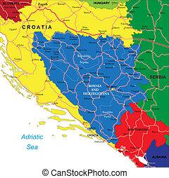 Bosnia & Herzegovina map - Highly detailed vector map of...