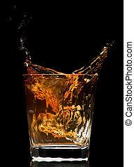 whiskey splash on black background close up