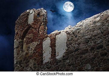 Full moon over the  castle ruins