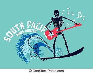 south pacific rock music skeleton surfer vector art