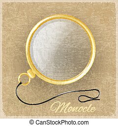 Antique gold monocle on a grunge background