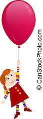 Redhaired girl flying on a balloon
