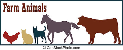 Farm Animals Illustration - Vector silhouettes of farm...