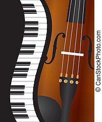 Piano Wavy Border with Violin Illustration - Piano Keyboards...