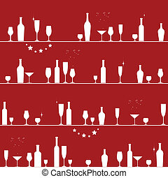 Holiday seamless pattern with glasses and bottles