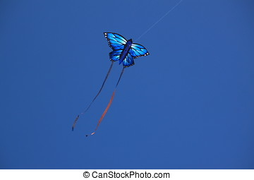 Butterfly Kite - Iridescent blue butterfly shaped kite...