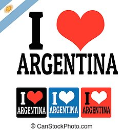 I love Argentina sign and labels on white background, vector...