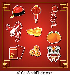 Chinese New Year icons - A vector illustration of Chinese...