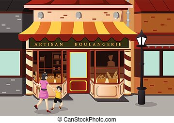 French bakery store - A vector illustration of French bakery...