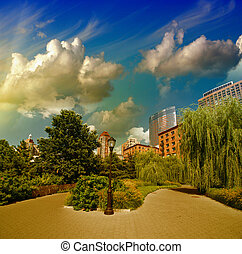 New York City, Battery Park area. Beautiful view of Trees...