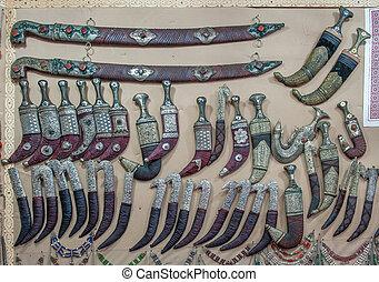 Yemeni, janbiya, tradycyjny, Jemen, Sztylet