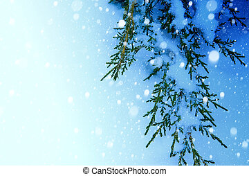 art Christmas tree on snow  background