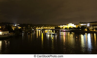 Vltava River at night. Prague. Czech Republic. Time Lapse. -...