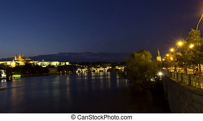 Vltava River and Charles Bridge at night Prague Czech...