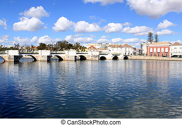 Ancient Roman historical bridge in Tavira, Algarve Portugal