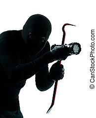 thief criminal burglar portrait masked in silhouette studio...