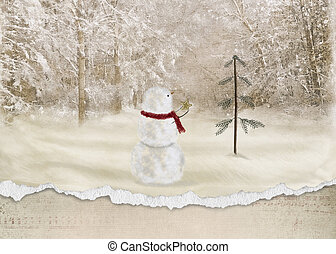 snowman with gold star - Christmas snowman with star and...