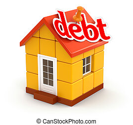 House and debt (clipping path) - House and debt. Image with...