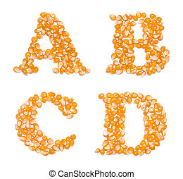 Capital characters made of corn seeds - Letter set made of...
