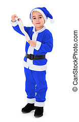 Little blue Santa Claus boy holding blank wish list - Little...