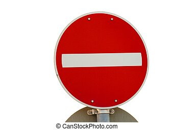 No entry traffic sign isolated on white