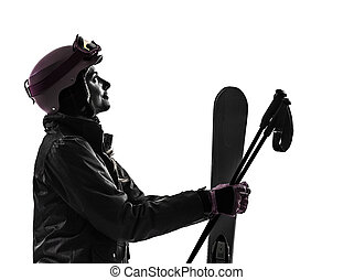 one woman skier  silhouette