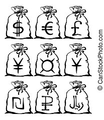 Bag with currency sign, set pictograms - Set of pictogram...