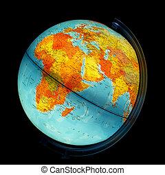 Illuminated globe. Africa and Eurasia.