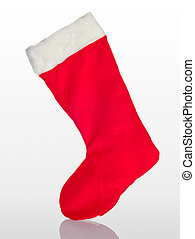Traditional Christmas stocking on a white background