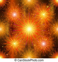 Fireworks, seamless - Firework background seamless, gold and...