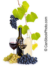 Bottle and glass of white and red wine whit grape clusters...