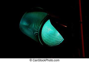 Green light - closeup of the green light on a traffic light