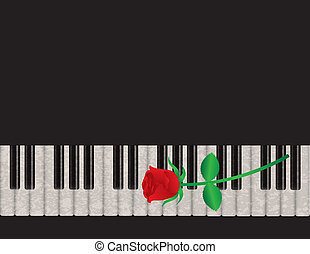 Piano Background with Red Rose Illustration - Piano...