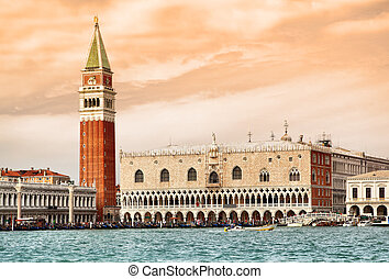 Venice - Campanile and Doges palace on Saint Marco square,...