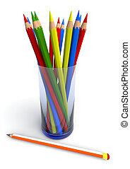 carboncillos, Glas, lápiz, Antes