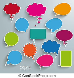 Colored Communication Bubbles - Infographic design with...