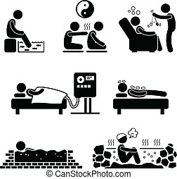 Alternate Therapies Therapeutic - A set of pictograms...
