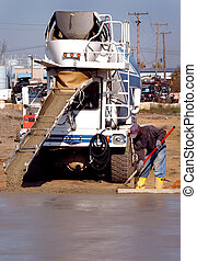 Cement Floor Pour - Ready mix cement poued from truck to...