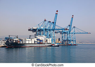 Container terminal in an industrial port
