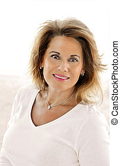 Attractive Mature Woman Portrait - Outdoor Portrait of a...