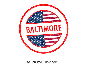 BALTIMORE - Passport-style BALTIMORE rubber stamp over a...