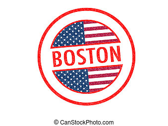 BOSTON - Passport-style BOSTON rubber stamp over a white...