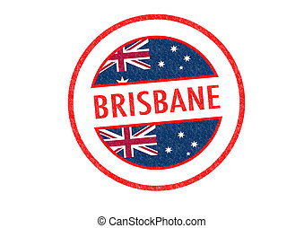 BRISBANE - Passport-style BRISBANE rubber stamp over a white...
