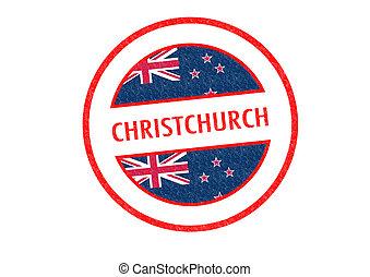 CHRISTCHURCH - Passport-style CHRISTCHURCH rubber stamp over...